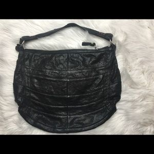 Lucky Brand 🍀 Black Leather Patchwork Hobo Bag